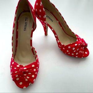 NWT Call It Spring Red Polka Dot Heels